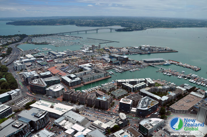 View of the Auckland Harbour Bridge and the Marina, as seen from the Sky Tower