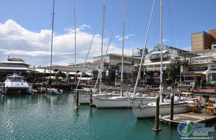 Auckland waterfront and boats New Zealand